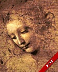 LEONARDO DA VINCI SKETCH PAINTING OF BEAUTIFUL WOMAN FACE REAL CANVASART PRINT
