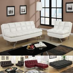 MODERN 2 PC Espresso Black White Red Faux Leather Sofa Bed Futon Sleeper & Chair #PoundexFurniture #ContemporaryModern