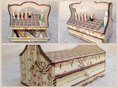 Nail Polish Organizer Wooden Storage Box, with Dividers and a Drawer, Floral Decoupage by CLVLArtsBrazil on Etsy