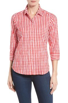 Crinkled Gingham Shirt (Regular & Petite)