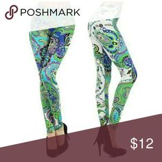 Multicolor Green and White Paisley Leggings Brand New Multicolor Green, White, Purple, and Navy Paisley Leggings Yelete Pants Leggings