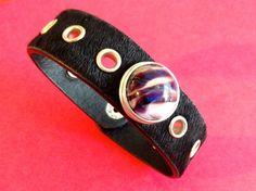 Chunk-Armband No 50 Rosshaar-Leder schwarz genietet, mit handgedrehtem Chunk