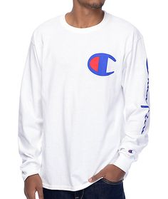 """Get a style from Champion that can only be found at Zumiez. The Script Sleeve white long sleeve tee features a navy """"C"""" logo screen printed on the left chest while the left sleeve shows Champion's classic script text logo. The cotton colorway is tagless f"""