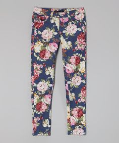 Look at this Blue Floral Pants - Girls on #zulily today!