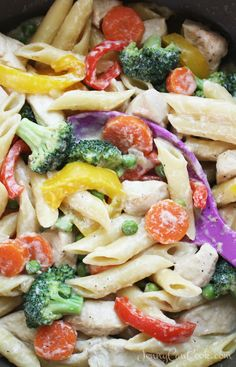One Pot Chicken Veggie Pasta recipe from Jenny Jones (Jenny Can Cook) Four vegetables, lean chicken, creamy sauce, all cooks in one pot - ready in 30 minutes.