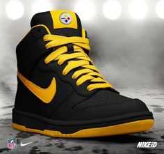 Steelers Nike shoes Pretty awesome look like old school style Nikes. Love that Steelers colors match our hometown school Colors. Pitsburgh Steelers, Pittsburgh Steelers Football, Steelers Stuff, Zapatillas Jordan Retro, Steeler Nation, Hype Shoes, Nfl Shoes, Jordan 1, Swagg