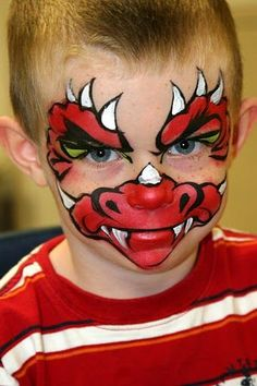 Are you new to face painting? Dinosaur Face Painting, Monster Face Painting, Dragon Face Painting, Face Painting For Boys, Face Painting Designs, Body Painting, Rosto Halloween, Visage Halloween, Halloween Makeup
