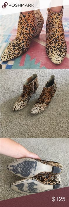 Matisse Nugent leopard pony hair boots Like new!!! These have been worn a handful of times but they are in perfect condition other than the wear on the bottoms. All pony hair is in tact, no balding or rub spots. These retail for almost $200 brand new. Super comfy wedge heel. Matisse Shoes Ankle Boots & Booties