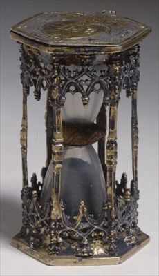German gilt-silver hourglass, (Germanisches National Museum, Nuremberg, Germany)----------running out of time. Antique Clocks, Antique Silver, Renaissance, Sand Timers, Gothic House, Antique Furniture, Vintage Antiques, Medieval, Old Things