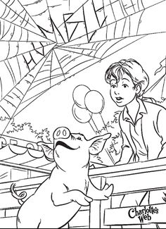 Charlotte's Web coloring page. ~Sonlight Core B week 5. To go with Chapter 19