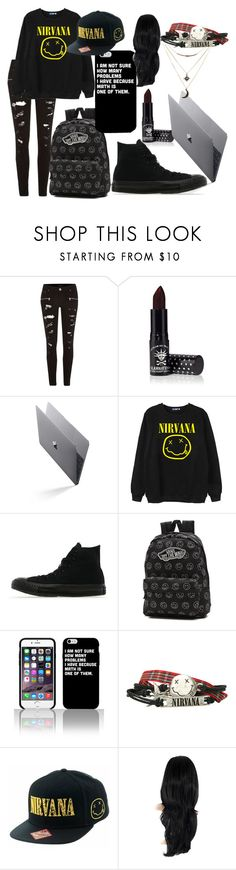 """nirvana because they're awsome"" by nikkyvanderoer ❤ liked on Polyvore featuring River Island, Manic Panic, Chicnova Fashion, Converse, Vans and Charlotte Russe"