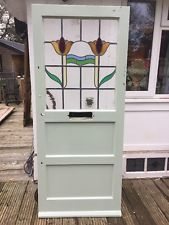 RESTORED 1930s FRONT DOOR ART DECO WOODEN RECLAIMED PERIOD STAINED GLASS