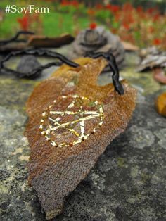 Sale 10% Wiccan necklace  golden Wiccan jewelry pagan por FamDdaear