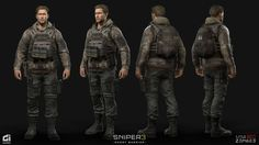 Sniper Ghost Warrior 3 - Characters We had the pleasure to work with CI Games on over 40 characters for Sniper Ghost Warrior 3 John North (Light Outfit) : We had the opportunity to create the Lead Character for the game which was a combined effort brought Character Concept, Character Art, Concept Art, Character Design, Sniper Ghost Warrior 3, Special Forces Gear, Tactical Light, 3d Human, Military Armor