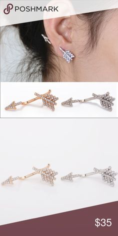 Crystal arrow earring cuff - Silver tone Turn heads with this unusual earring/cuff! The silver plated crystal arrow is sure to catch attention   • Quantity: 1 • Material content: silver plated metal alloy • Made in: China   • NOTE  one earring only! Willa Jewelry Earrings