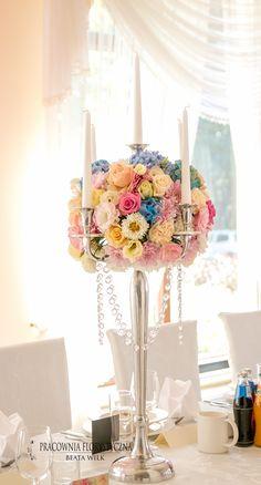kandelabry - dekoracja sali weselnej świece świecznik