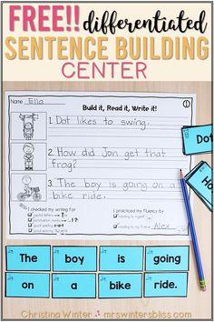 Differentiated Sentence Building Activities