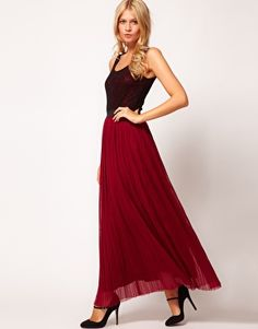 Can't make up my mind if I like these or not.  Love | Love Lace Top Pleat Maxi Dress at ASOS