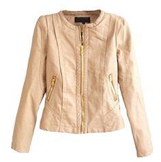 Pivaconis Womens Solid Colored Fit Crewneck Coat Jacket Biker Jacket Top Khaki XL