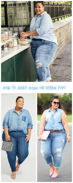 What's not to like about a big-legged gal? How to Make Denim on Denim Pop! Look Plus Size, Plus Size Girls, Plus Size Women, Curvy Girl Outfits, Hot Outfits, Plus Size Outfits, Thick Girl Fashion, Curvy Women Fashion, Garner Style