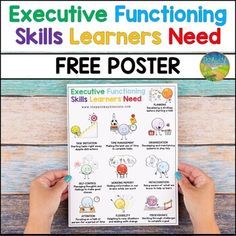 Executive Functioning Skills Learners Need Free Poster by Pathway 2 Success Time Management Activities, Behavior Management, Classroom Management, Social Work Quotes, School Social Work, Executive Functioning, Study Skills, Elementary Schools, Working Memory
