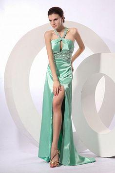 Aqua Sexy A-line Halter Zip up Elastic Woven Satin Prom Dresses Cheap Formal Dresses, Elegant Prom Dresses, Formal Evening Dresses, V Neck Prom Dresses, Bridesmaid Dresses, Party Dresses, Wedding Dresses, Satin Vert, Beautiful Evening Gowns