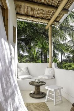 Rustic Meets Bohemian Chic in this Tiny Airbnb on Holbox Island A boho-chic Airbnb on Mexico's charming Holbox Island, Casa Impala mixes splendid rustic aesthetics with a sense of comfort. Apartment Patio Gardens, Apartment Balconies, Outdoor Spaces, Outdoor Living, Outdoor Decor, Outdoor Seating, Azulejos Diy, Mediterranean Decor, Mediterranean Architecture