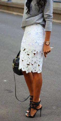 grey sweater + white skirt
