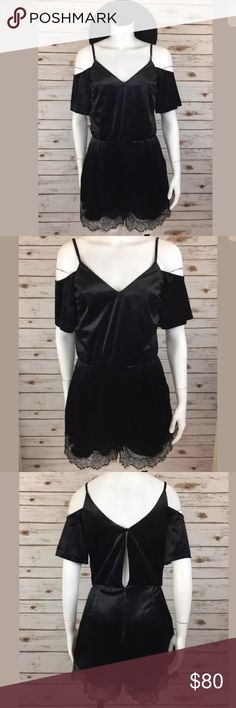 Topshop Black Velvet Cold Shoulder Lace Romper NWT This brand new romper is made by Topshop! The color is solid black and has velvet style material! It has a cold shoulder cut out style and Lace trim bottom detail! This romper has a V neckline and has spaghetti straps! There is a zip/button back detail and is perfect for all seasons! Topshop Other