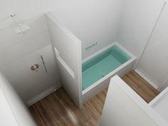 Muur met nis tussen douche en bad