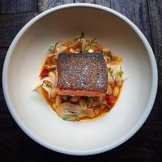 Salmon with crispy skin, white beans, fennel, sauce... @ ⭐️ for culinary inspirations check Cookniche.com