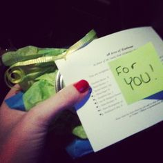 Twitter / @heyy_itsteee  : Was pumping gas and I looked down and saw this at my feet... It's a homemade body scrub for #26Acts of Kindness from someone I don't even know.  Goes to show there are still great people out there. ♥