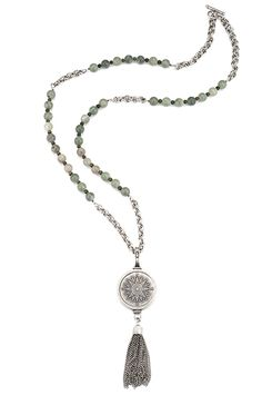 """38"""" sea mist jade and antiqued sterling silver-clad double cable chain, taupe labradorite and cats eye accents, large FDL smooth bezel, Sopad medallion and medium tassel; FrenchKande"""