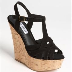 Steve Madden Black Wedge Steve Madden black platform wedges worn only to try on! They are in perfect condition and are great for so many occasions! I am normally a 7.5, so these shoes run a little bit big. Steve Madden Shoes Wedges