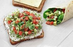 """California Sandwich"" — Whole wheat toast topped with chive yogurt spread, sprouts, and a cilantro-lime avocado, tomato, and cucumber salad."