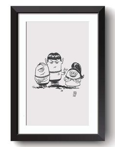 Description: Nerdy Minion Trekkies - imagined from the TV and Movie series Star Trek and The Minions An 8.5 in by 11 Giclee print of a hand-drawn illustration completed by Billi French This art piece was hand drawn using a Pentel Pocket Brush Printing: Final print is printed on art quality Hammermill Digital cover 80 lb Paper using an Epson SureColor P400 Photo Printer  Shipping Details: Prints are shipped in a flat rigid cardboard mailer sandwiched between two flat cardboard pieces  Thanks…