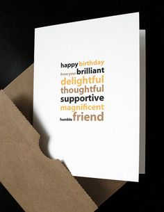 Thoughtful Wedding Gift For Best Friend : Card for a Friend from a Brilliant, Delightful, Thoughtful? Friend ...