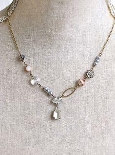Crystal rhinestone pearl wedding bridal prom necklace. Tiedupmemories by tiedupmemories on Etsy https://www.etsy.com/listing/224058907/crystal-rhinestone-pearl-wedding-bridal