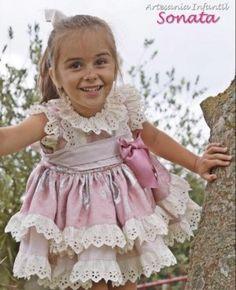 Gorgeous Baby Girl Spanish Blue Candy Stripe Drop Waist Puff Ball Dress Lace