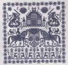 PERMIN  SAMPLER BLUE CROSS STITCH CHART