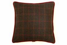 Sartorial Home Cushion: Brown Plaid & Brown Velvet - Sartorial Home - Designers