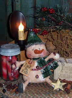 Primitive Patti's Ratties Winter Snowman Christmas Doll Pattern 264