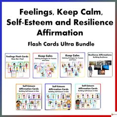 Feelings, Keep Calm, Self-Esteem and Resilience Flash Cards Ultra Bundle from A Plus Learning Self Esteem Affirmations, Affirmations For Kids, I Will Be Okay, Interview Guide, Good Traits, Math 2, Different Feelings, Affirmation Cards, Positive Reinforcement