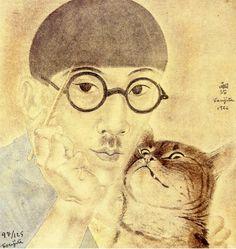 Foujita, self portrait with cat