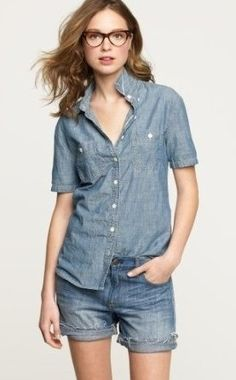 #denim on denim (canadian tuxedo) made easy with these #J.Crew shorts and short sleeve #chambray shirt...  Love the effortless, cool, neird look!