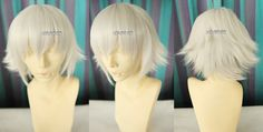 K project Isana Yashiro / young Squalo short layers silver white cosplay wig with bangs / men wig