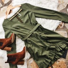 Khaki crushin'II The Ma Cherie Dress (also available in Blue) is a winter must have! AND it's 20% off   SHOP NEW ARRIVALS --> www.muraboutique.com.au  #muraboutique #flatlay #sale