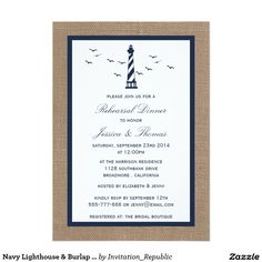 Navy Lighthouse & Burlap Nautical Rehearsal Dinner