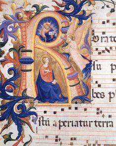 Annunciazione nel capolettera di codice miniato (ca.1430) tempera e oro su pergamena - Fra Beato Angelico - Museo San Marco, Firenze