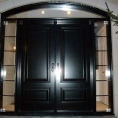 Double Solid Entry Door Fiberglass Painted In White Finish - Solid front doors